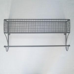 Metal basket Shelf with towel rod